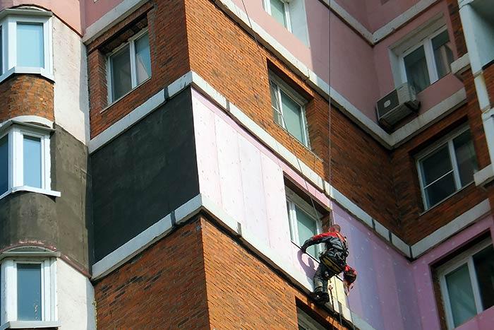 Утепление фасадов, балконов.